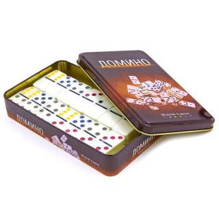 "Brettspiel ""Domino - farbig"" in Metalbox"