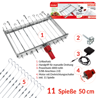 Mehrfacher Drehspieß für 11 Spieße SESAM mit Motor und Akku! L 62 cm, Breite regulierbar 24-40 cm